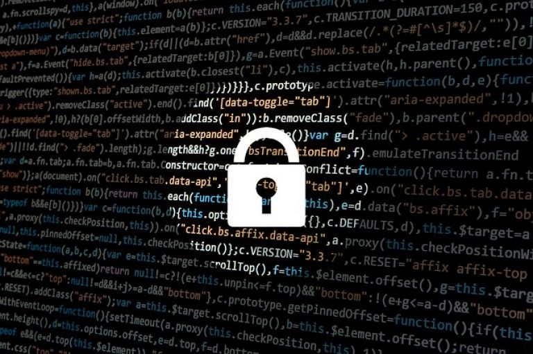 Padlock over website data for cyber security